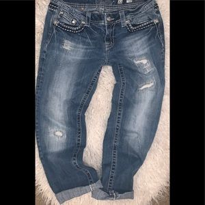 Distressed cropped Capri denim jeans 31 miss me